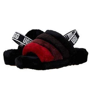 UGG fluff yeah slide black/red NEW size 7